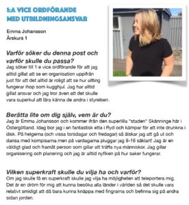 Emma Johansson, 1:a Vice ordförande med utbildningsansvar