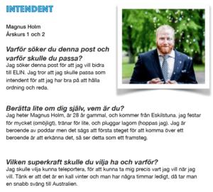 Magnus Holm, Intendent