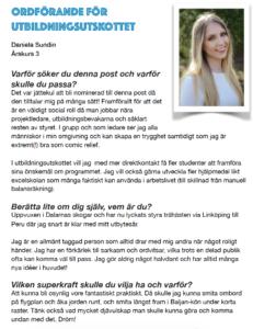Daniela Sundin, Ordförande för utbildningsutskottet