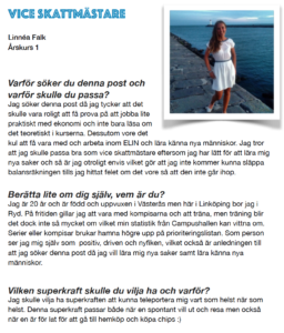 Linnea Falk, Vice skattmästare