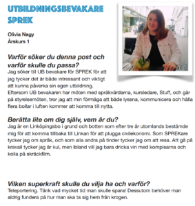 Olivia Nagy, Utbildningsbevakare SPREK